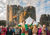Fire juggler, Medieval Christmas Fayre Caerphilly Castle, © Crown copyright (...)